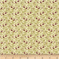 Windham Peyton Floral Stripe  Green