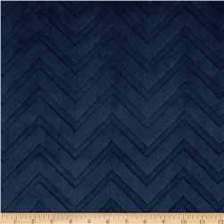 Shannon Minky Cuddle Embossed Chevron Navy