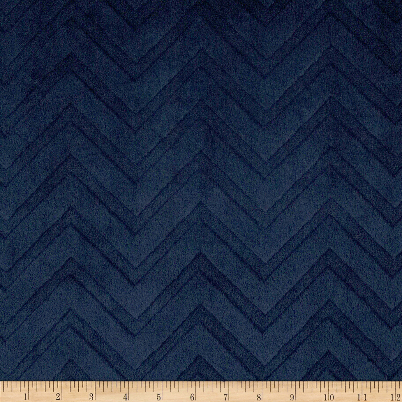 Shannon Minky Cuddle Embossed Chevron Navy Fabric