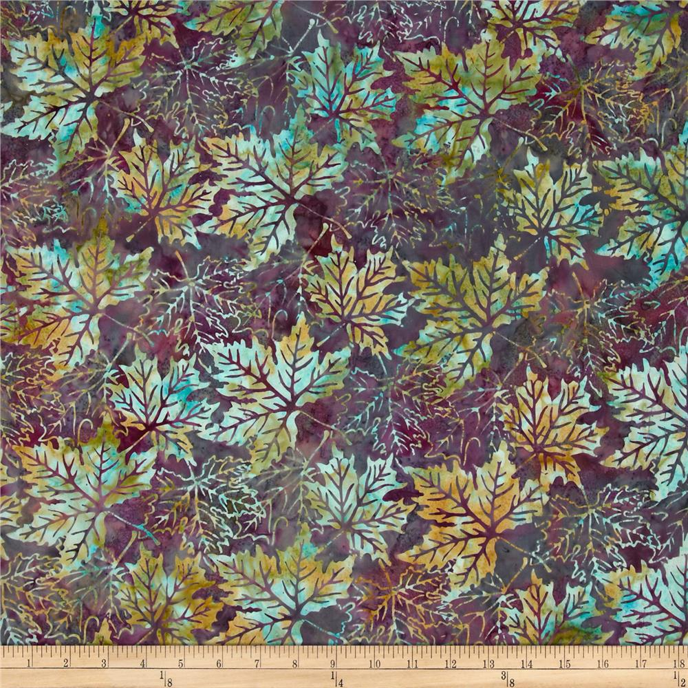 Bali Batiks Maple Leaves Claret