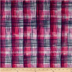 French Designer Cotton Voile Plaid Pink/Navy/White
