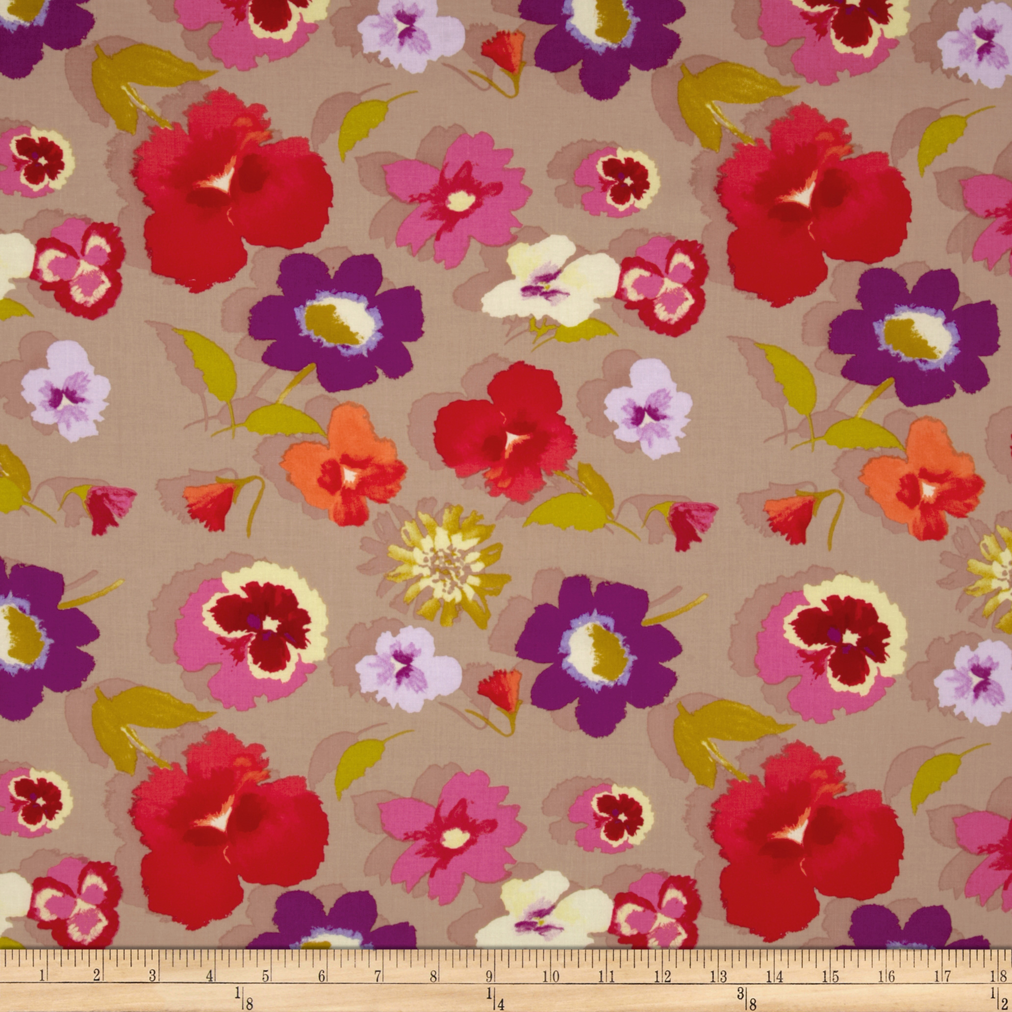 Secret Garden Large Floral Linen Beige Fabric