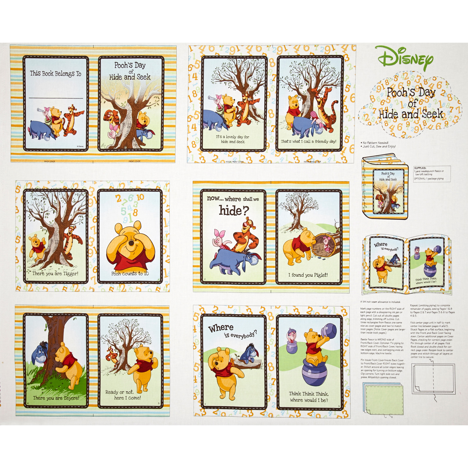 Disney Pooh Nursery Peekaboo Soft Book Multi Fabric