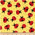 Timeless Treasures Flannel Bugtopia Ladybugs Yellow
