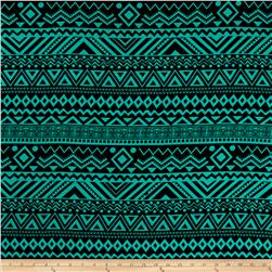 Rayon Challis Tribal Prints Jade/Black