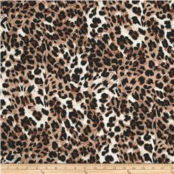 Stretch Jersey Knit Animal Print Brown