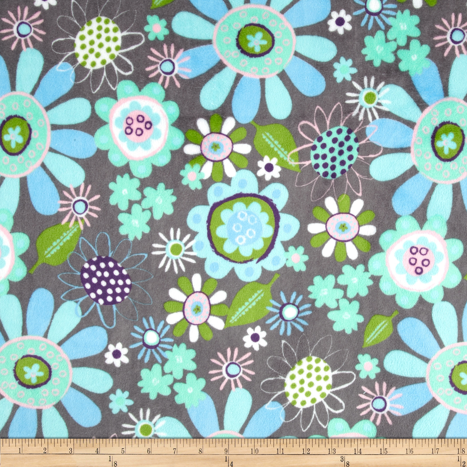 Minky Cuddle Fly Away Inbloom Charcoal Fabric