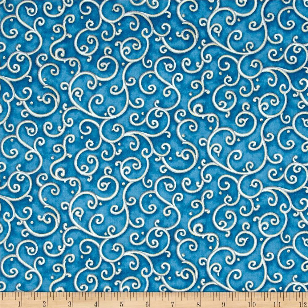All Is Calm Metallic Scroll Blue