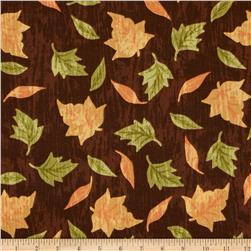 Harvest Farm Tossed Leaves Brown Fabric