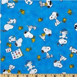 Peanuts-Project Linus Snoopy & Woodstock Toss Blue Fabric
