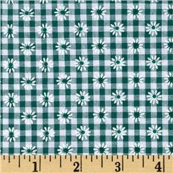 Woven 1/8'' Daisy Gingham Green Fabric