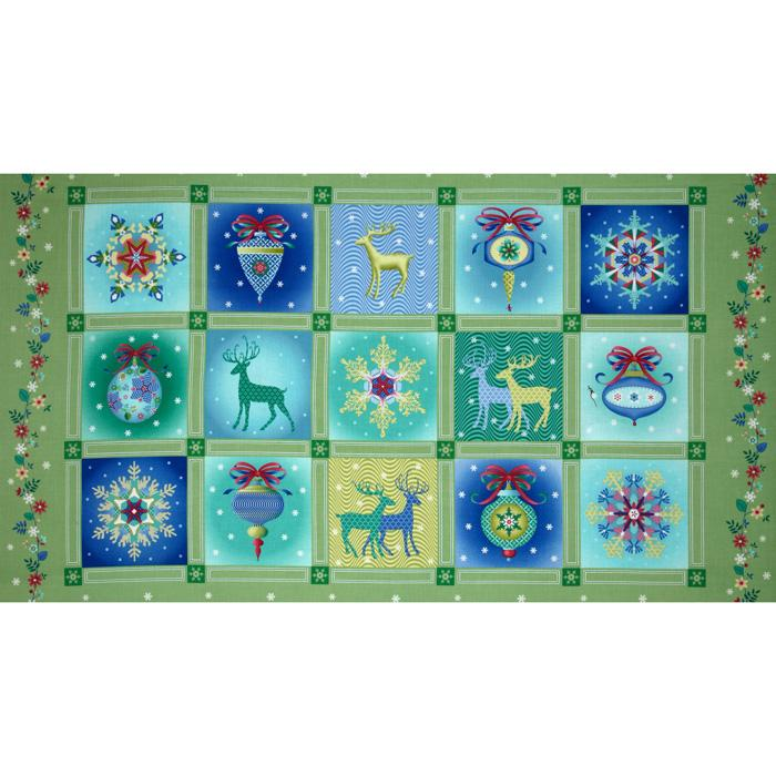 Winterscapes Panel Christmas Blocks Green