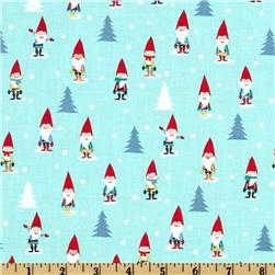 Michael Miller Holiday Many Mini Gnomes Blue Fabric