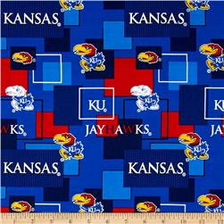 Collegiate Cotton Broadcloth University Of Kansas Block Print Navy