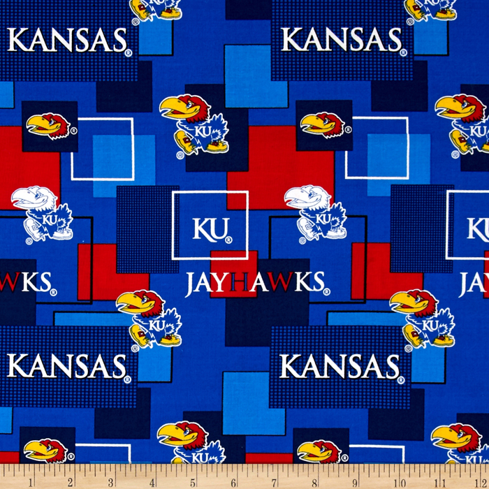 Collegiate Cotton Broadcloth University Of Kansas Block Print Navy Fabric by Sykel in USA