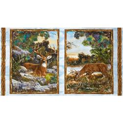 A Change of Scenery Flannel Panel Deer White