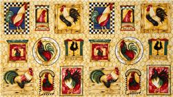 Chanticleer Roosters Panel Cream