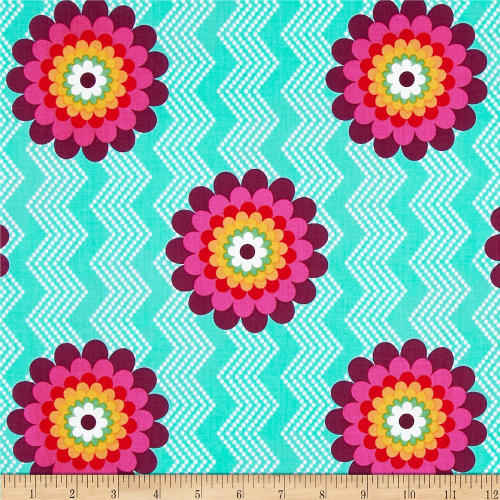 Mosaica Flowers & Chevrons Turquoise