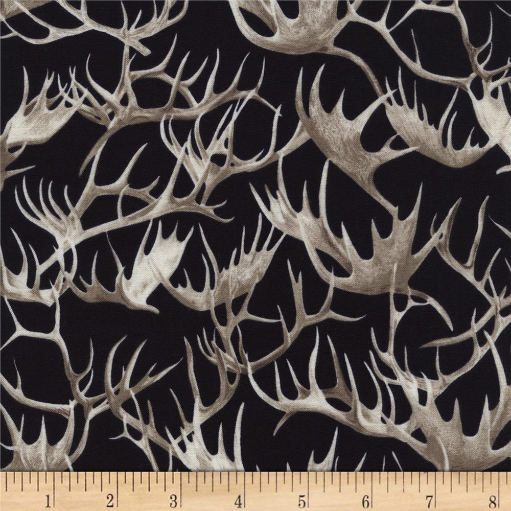 Timeless Treasures Cabin Rules Antlers Black