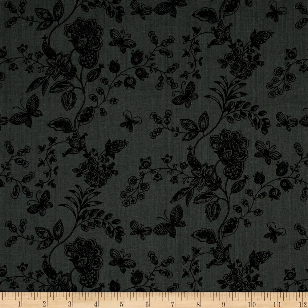 "108"" Wide Quilt Back Floral Butterfly Grey"