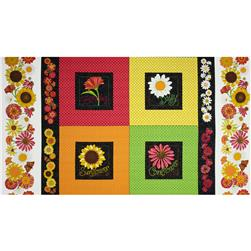 Breezy Blooms Garden Patch Panel Black/Multi