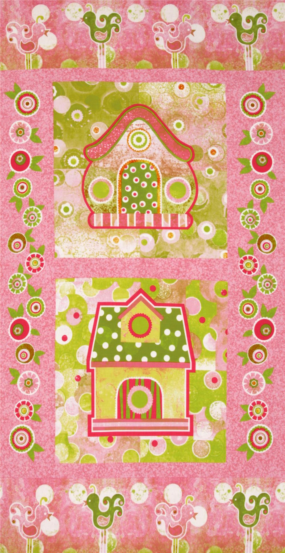 The Garden Club Birdhouse Panel Pink/Green Fabric By The Yard