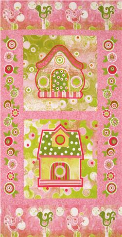 The Garden Club Birdhouse Panel Pink/Green