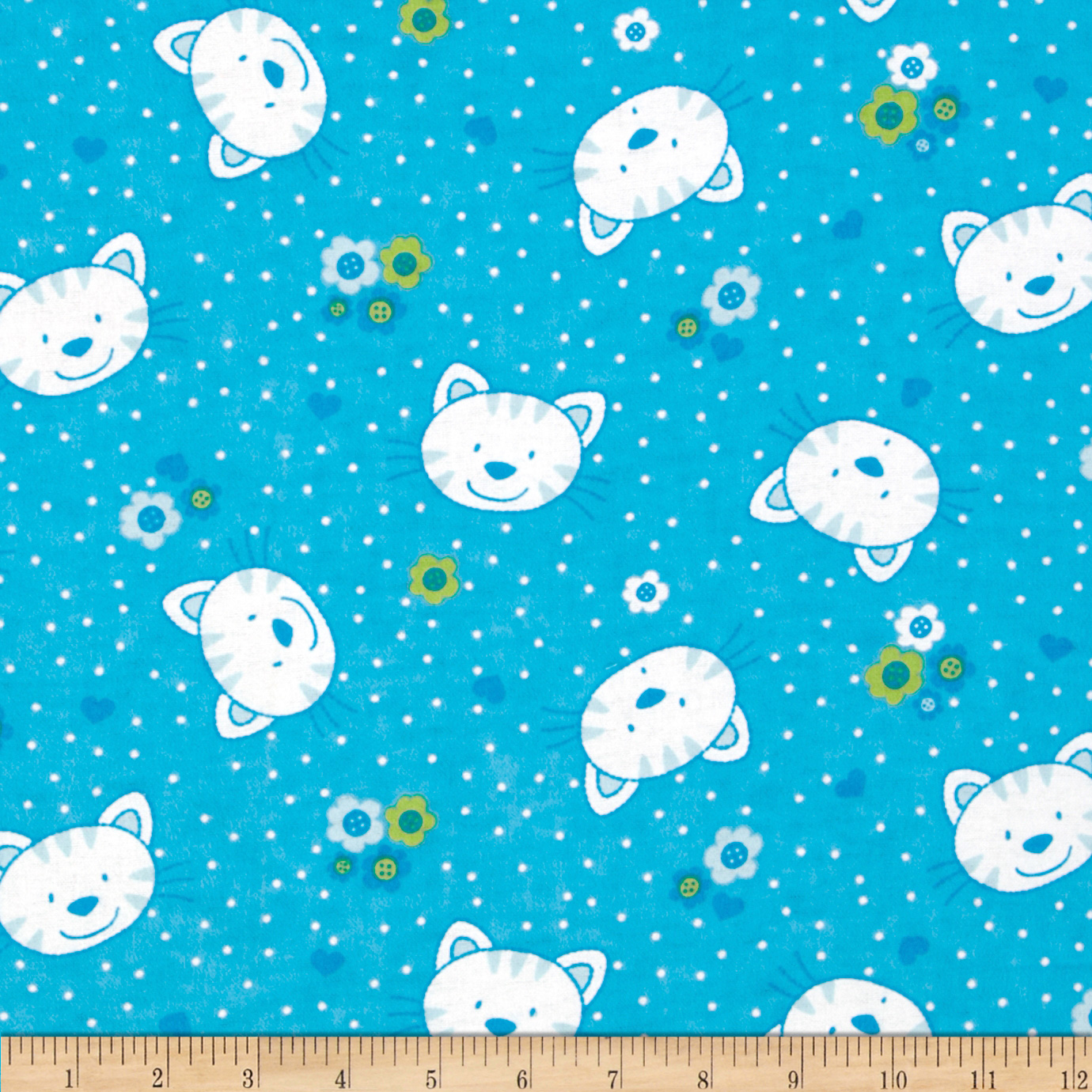 Camelot Flannel Kitty Blue Fabric