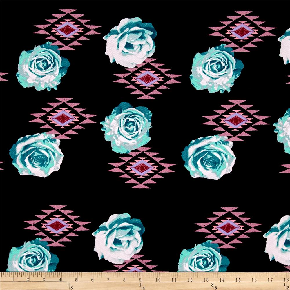 Liverpool Double Knit Aztec Roses Tuquoise/Pink
