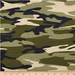 Rayon Spandex Jersey Knit Camouflage Print Green/Black