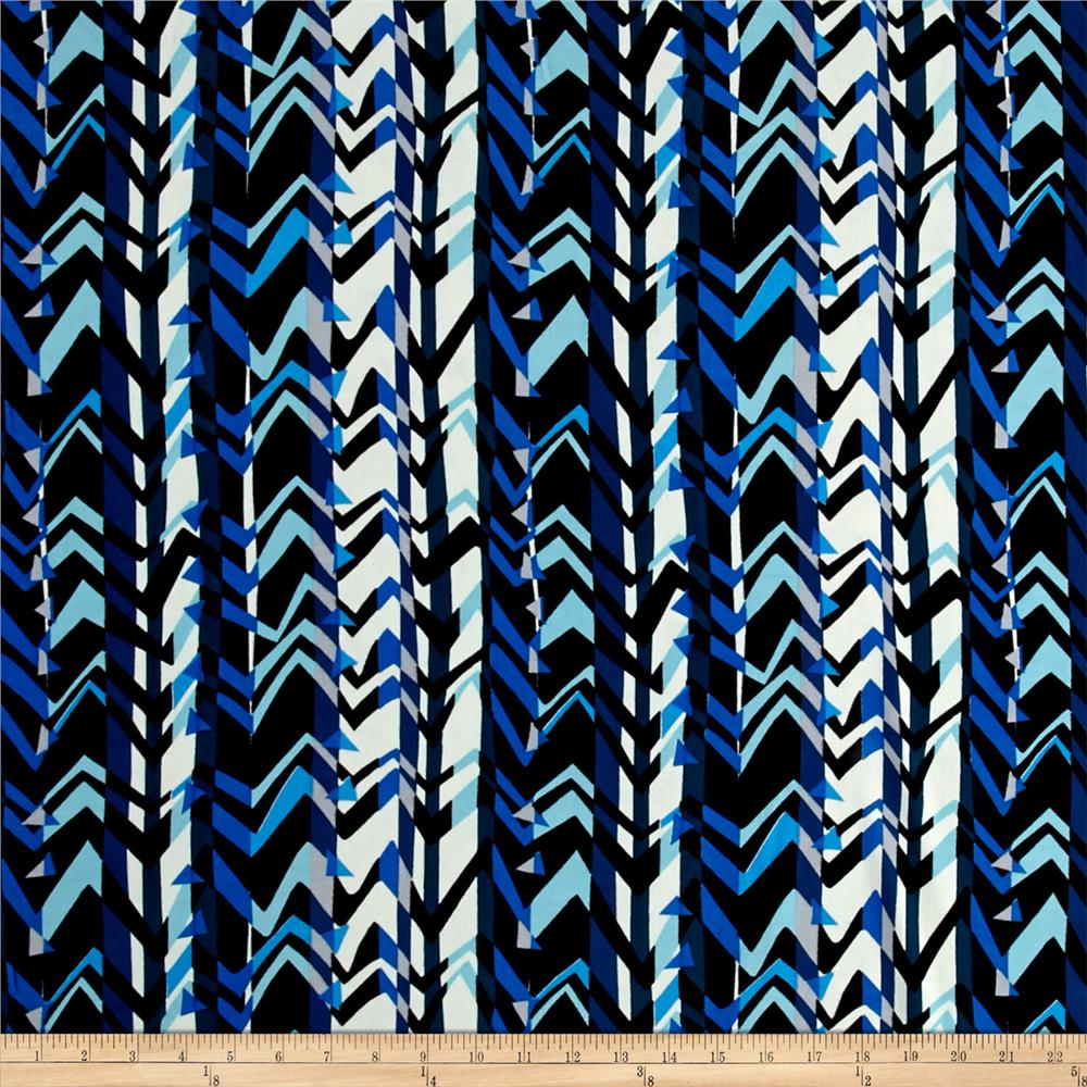 Rayon Challis Abstract Zig Zag Blue/Multi