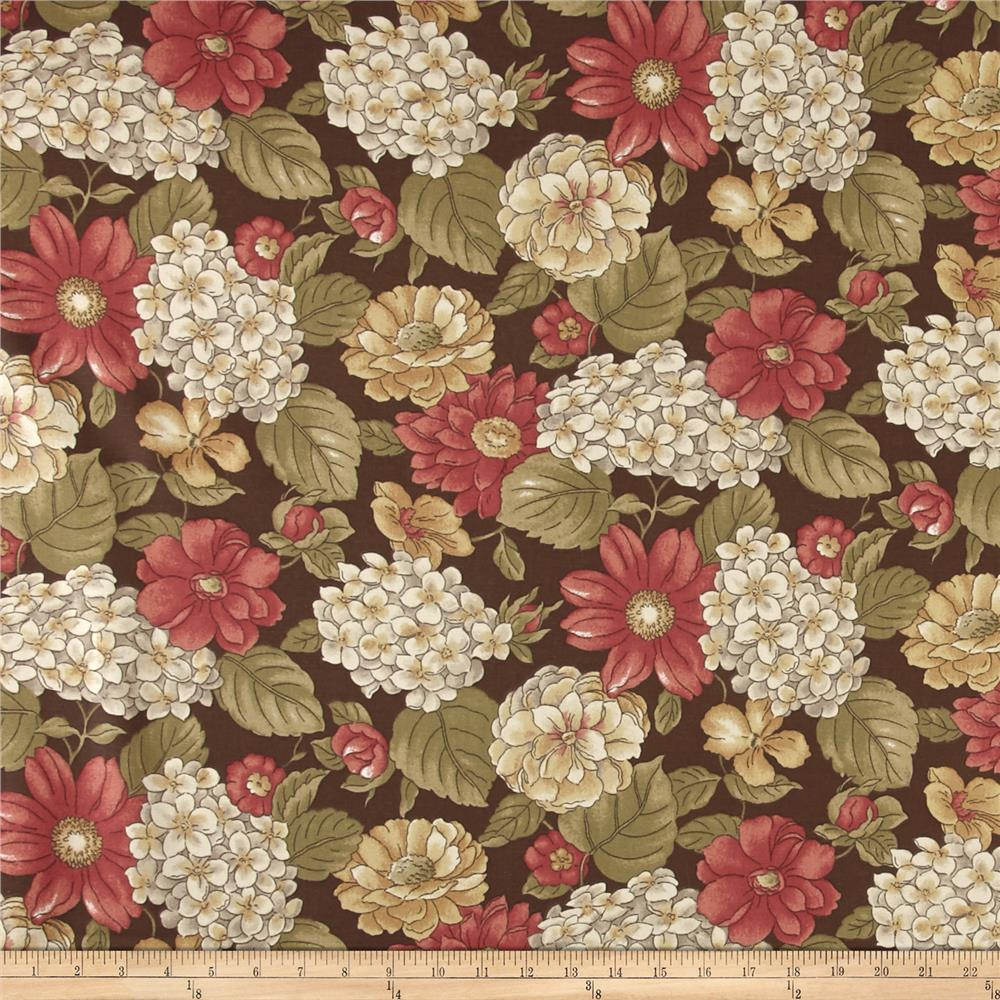 Ansley Home Decor Cotton Duck Floral Brown Multi Fabric By The Yard