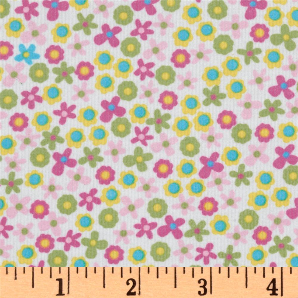 Kaufman 21 Wale Cool Cords Flowers Pink