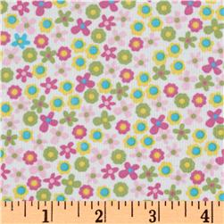 Kaufman 21 Wale Cool Cords Flowers Pink Fabric