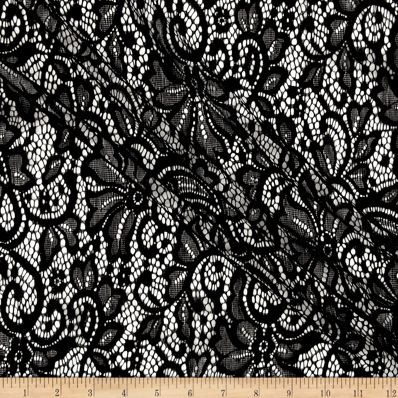 Flower Lace Black Fabric by Stardom Specialty in USA