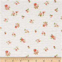 Pointelle Knit Small Floral White/Orange