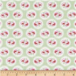Tanya Whelan Slipper Roses Baby Roses Green Fabric