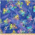 Embroidered Indian Batiks Butterfly Blue