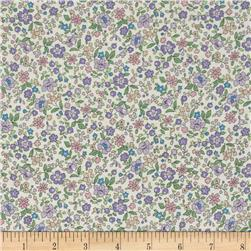 Memore a Paris Cotton Lawn Spring Flowers Trail Lavender