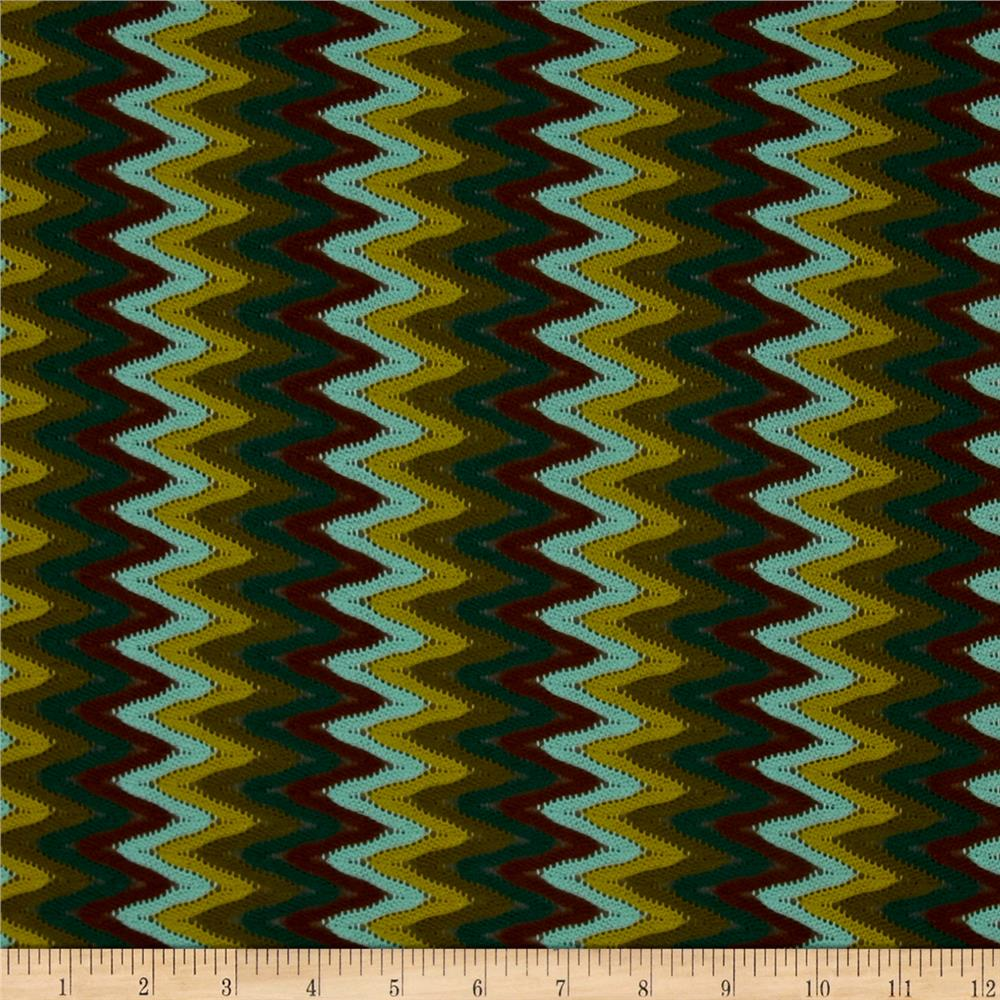 Novelty Crochet Lace Chevron Brown/Green