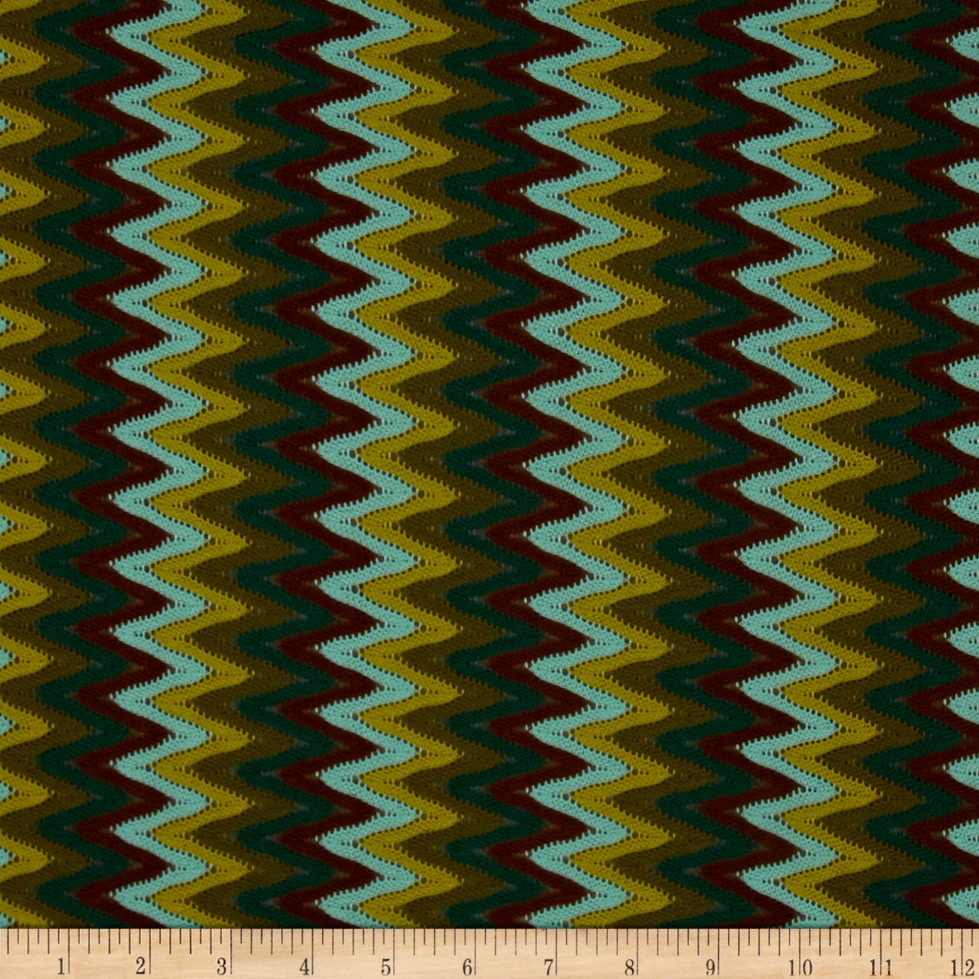 Novelty Crochet Lace Chevron Brown/Green Fabric