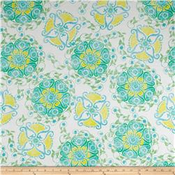 Cotton Spandex Jersey Knit Print Floral Blue/White/Yellow