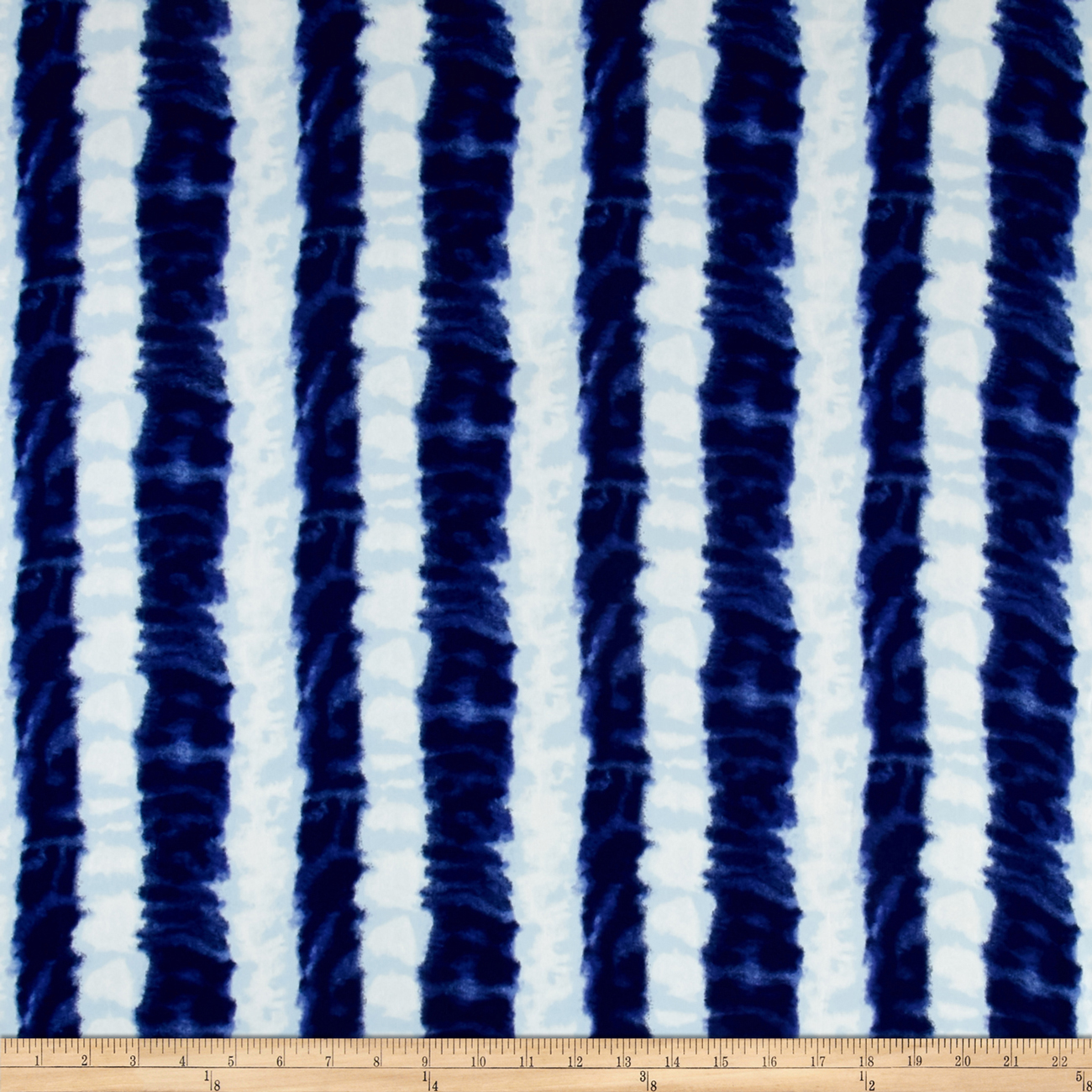 Ink Stripe Dobby Crepe Print Ivory/Cobalt Fabric by Neiman in USA