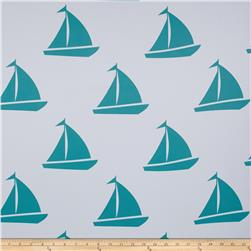 RCA Blackout Drapery Fabric Sailboats Aqua