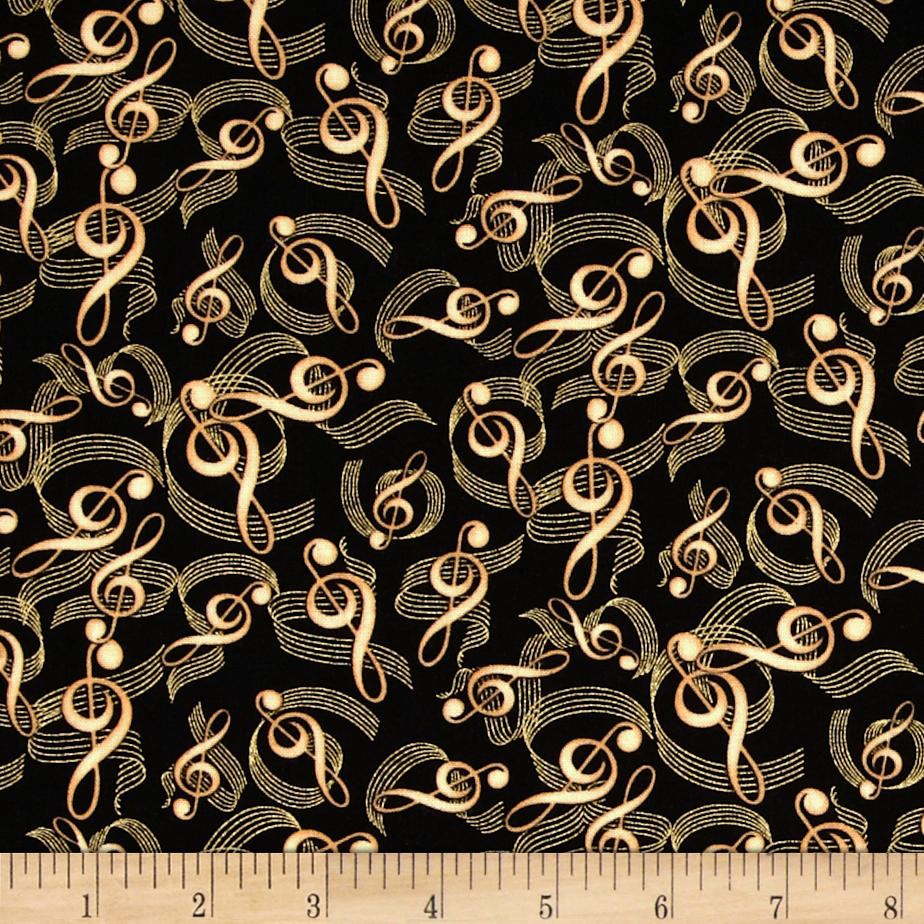 Timeless Treasures Clefs Metallic Music Notes Black Fabric