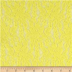 Stretch Floral Lace Light Yellow