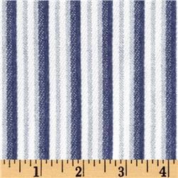 Designer Yarn Dyed Cotton Pique Knit Stripes Blue