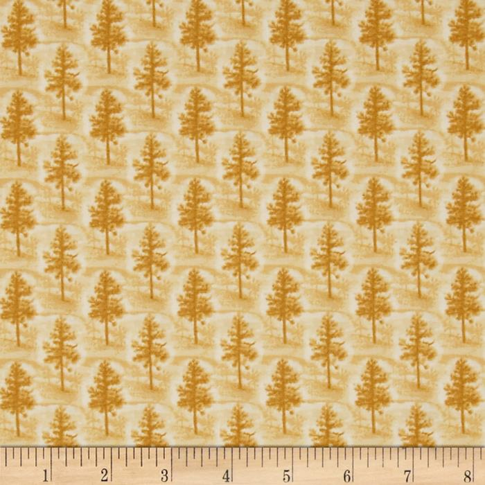 Quilting Treasures Native Pine Pine Tree Tonal Gold