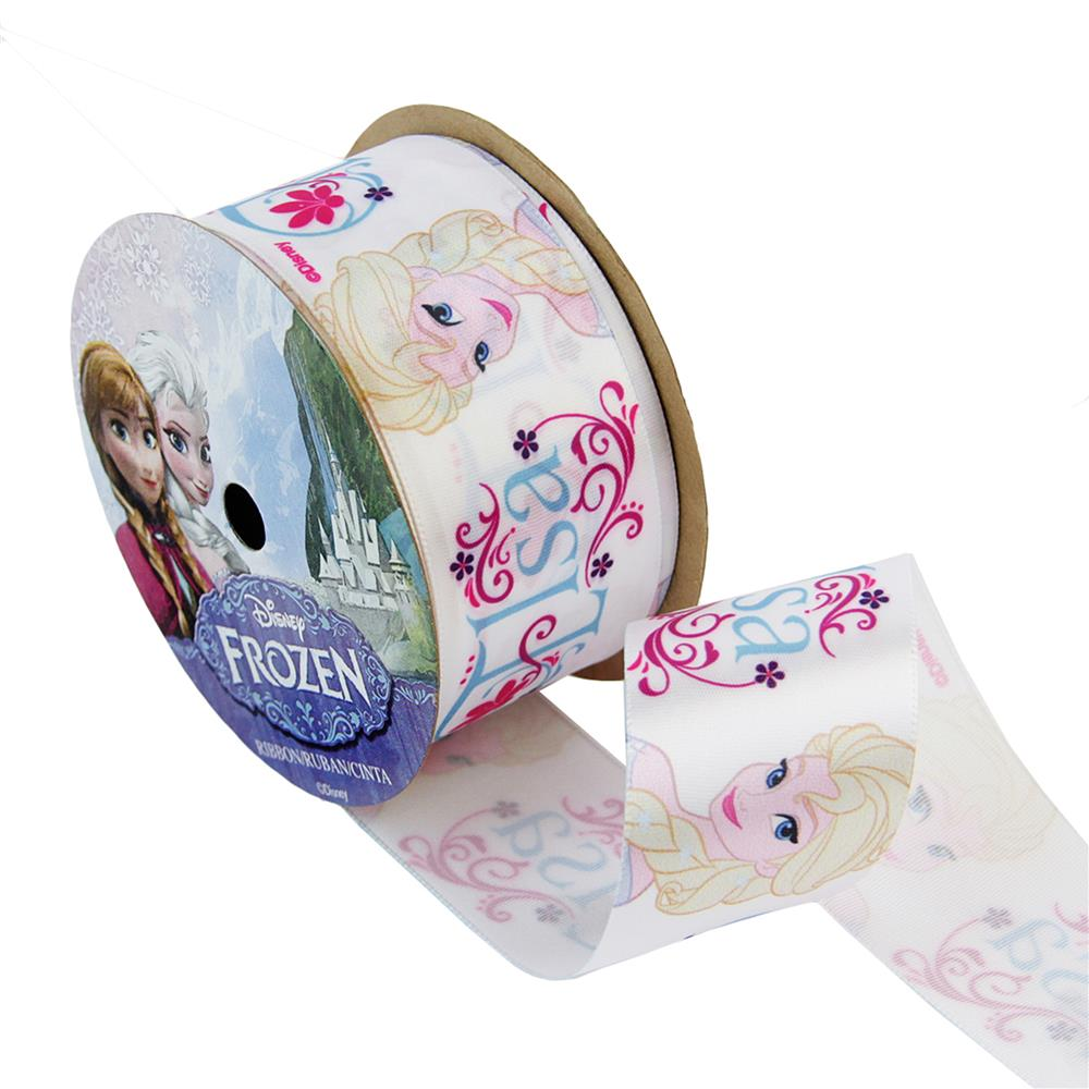 1 1/2'' Frozen Ribbon Elsa White 3YD Spool
