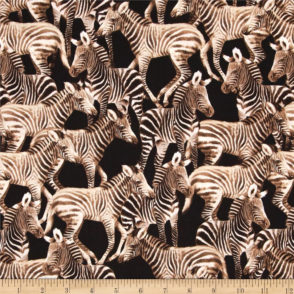 Timeless Treasures Zebras Black